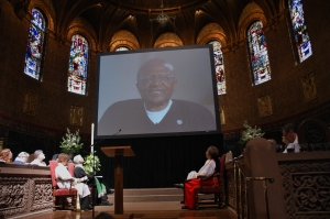 Archbishop Desmond Tutu shares a video message on climate change. Photo by Marjorie Manning Vaughan.