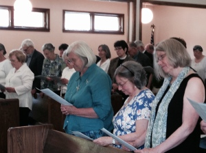 Canon Vicki Wiederkehr (left) on Saturday joined by her sisters Pam and Deb.