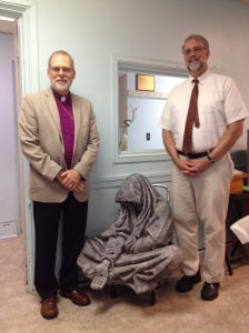 Bishop Stephen Lane and Biddeford Mayor Alan Casavant with the sculpture