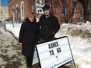 Brenda Holman and the Rev. Tim Walmer on Main Street in Farmington