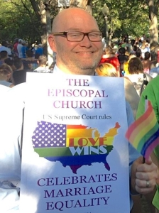 Calvin celebrates the Supreme Court's decision in downtown Salt Lake City this afternoon.