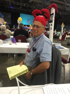 Even the deputation chair has to wear the hat.