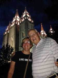 Heidi Shott and Dick Rozene at the Mormon Temple in downtown SLC.