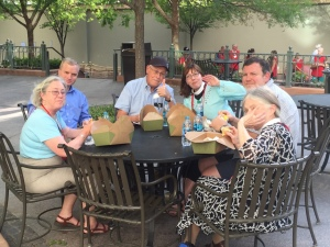 Your deputies grab a box supper before attending the Diocese of Utah event held at the Mormon Tabernacle.