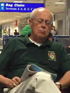 Deputation chair Dick Rozene waiting for his 1 a.m. red-eye at Salt Lake City airport.