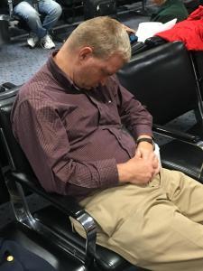 Ben  Shambaugh waiting for his 1 a.m. red-eye at Salt Lake City airport.