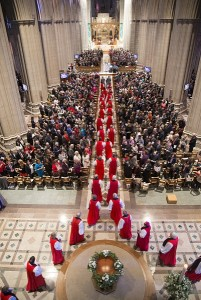 Some of the 155 bishops of The Episcopal Church process into Washington National Cathedral Nov. 1 at the start of the Eucharist that included the installation of Michael B. Curry as The Episcopal Church's 27th presiding bishop and its primate. Photo: Danielle Thomas (c) 2015 Washington National Cathedral